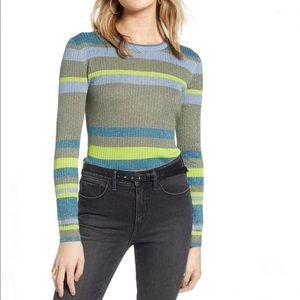 Treasure & Bond Metallic Stripe Ribbed Sweater XXL